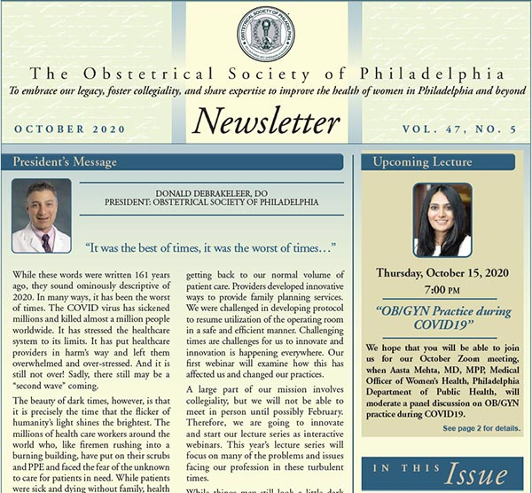 Obstetrics Society of Philadelphia Newsletter