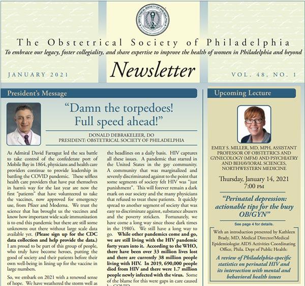Obstetrics Society of Philadelphia Newsletter